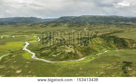 Kronotsky Nature Reserve on Kamchatka Peninsula. View from the helicopter.