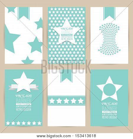 vector blue set of Vintage pattern background banner retro brochures templates cards six frames design on gray backgrounds