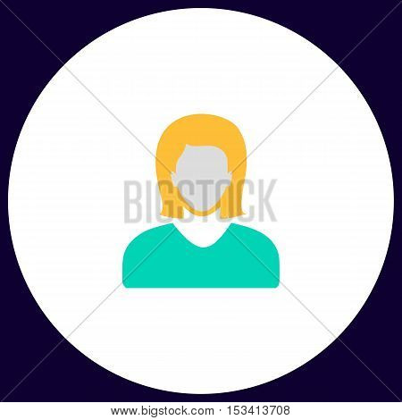 Female user Simple vector button. Illustration symbol. Color flat icon