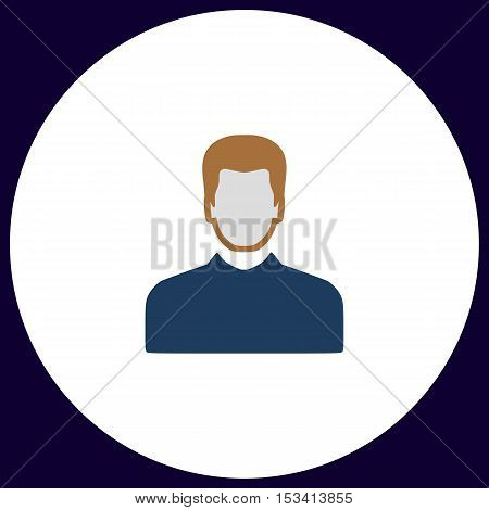 Male avatar Simple vector button. Illustration symbol. Color flat icon