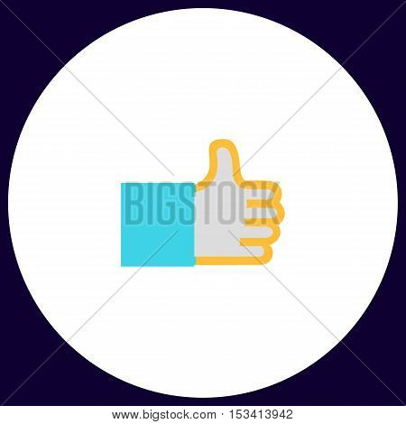 Thumbs up Simple vector button. Illustration symbol. Color flat icon