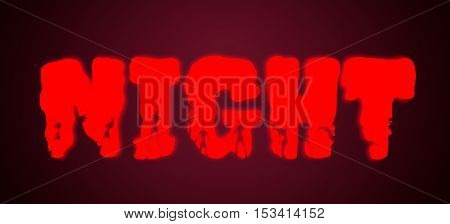 Night word and silhouettes on them. Halloween theme background. 3D rendering. Neon lighting