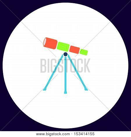 Telescope Simple vector button. Illustration symbol. Color flat icon