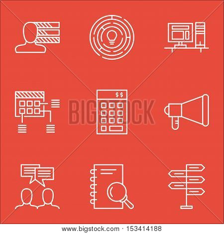 Set Of Project Management Icons On Computer, Discussion And Personal Skills Topics. Editable Vector
