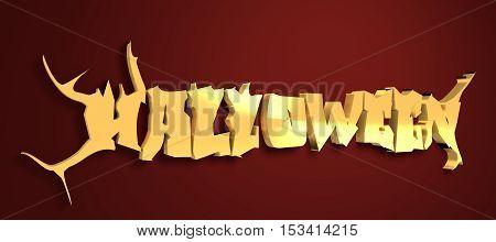 Halloween text calligraphy. Black metal music style font. 3d rendering. Golden metal material