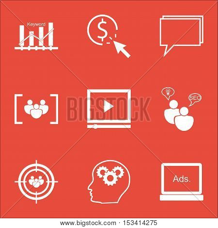 Set Of Advertising Icons On Brain Process, Questionnaire And Seo Brainstorm Topics. Editable Vector