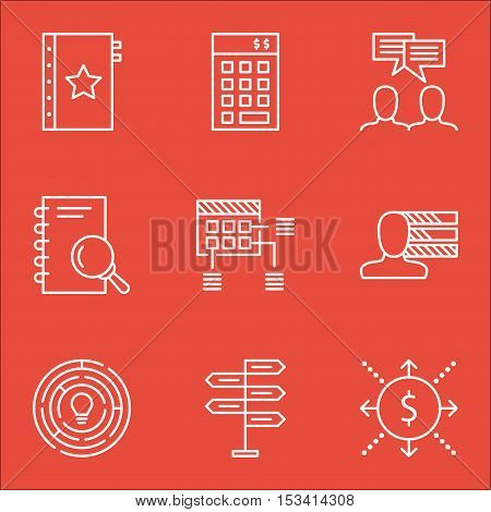 Set Of Project Management Icons On Investment, Schedule And Personal Skills Topics. Editable Vector