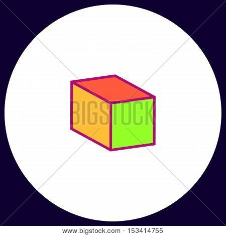 cube Simple vector button. Illustration symbol. Color flat icon