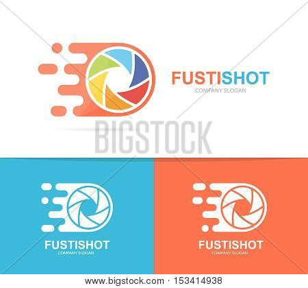 Vector fast camera shutter logo combination. Speed lens symbol or icon. Unique photo and focus logotype design template.