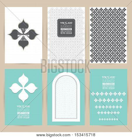 vector blue gray set of Vintage pattern background banner retro brochures templates cards six frames design on gray backgrounds