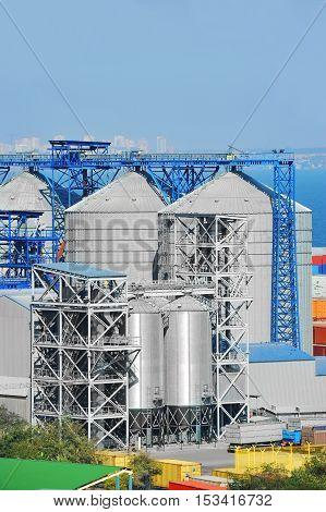 Grain dryer in the port of Odessa Ukraine