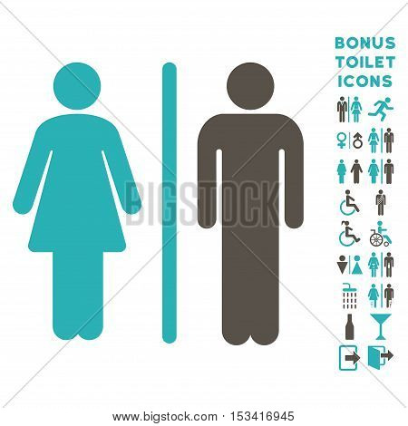 WC Persons icon and bonus male and female lavatory symbols. Vector illustration style is flat iconic bicolor symbols, grey and cyan colors, white background.