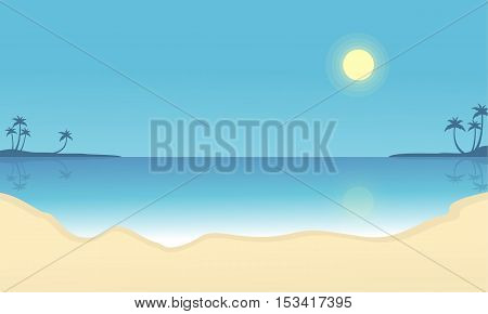 Scenery beach vector flat silhouettes collection stock