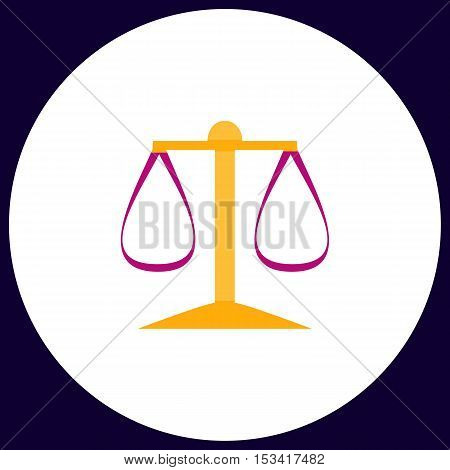 justice scale Simple vector button. Illustration symbol. Color flat icon