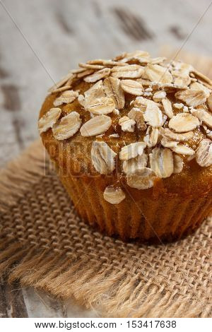 Fresh Muffin With Oatmeal Baked With Wholemeal Flour, Delicious Healthy Dessert