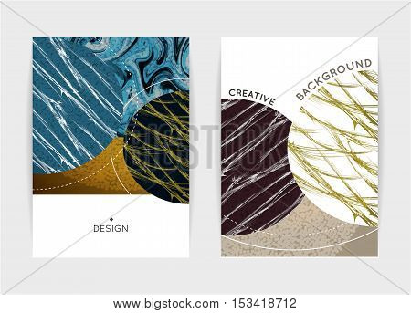 Cover design. Templates with textured shapes. Creative abstract background. It can be used for cover book brochure artbook sketchbook catalog. Size A4. Vector illustration eps10
