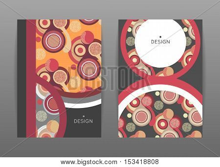 Cover design. Templates with colorful round shapes. Abstract pattern. Flat circles. Creative background. It can be used for cover bookbrochureartbooksketchbook. Size A4. Vector illustrationeps10