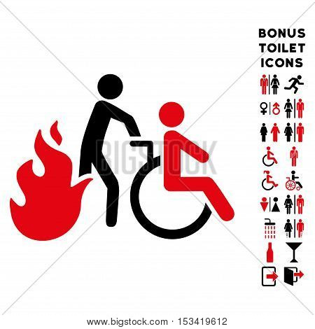Fire Patient Evacuation icon and bonus gentleman and woman restroom symbols. Vector illustration style is flat iconic bicolor symbols, intensive red and black colors, white background.