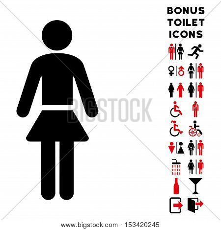 Lady icon and bonus gentleman and lady lavatory symbols. Vector illustration style is flat iconic bicolor symbols, intensive red and black colors, white background.