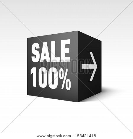Black Cube Banner Template for Holiday Sale Event. One Hundred Percent off Discount