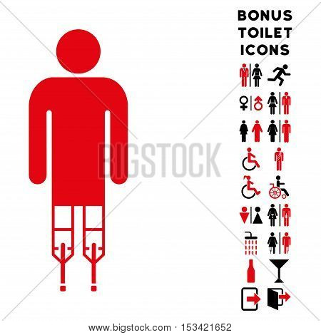 Man Crutches icon and bonus gentleman and lady WC symbols. Vector illustration style is flat iconic bicolor symbols, intensive red and black colors, white background.