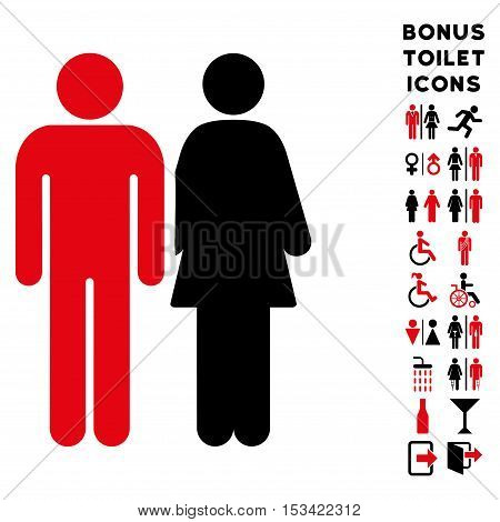 Married Couple icon and bonus gentleman and lady lavatory symbols. Vector illustration style is flat iconic bicolor symbols, intensive red and black colors, white background.