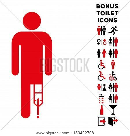Patient Man icon and bonus man and woman restroom symbols. Vector illustration style is flat iconic bicolor symbols, intensive red and black colors, white background.
