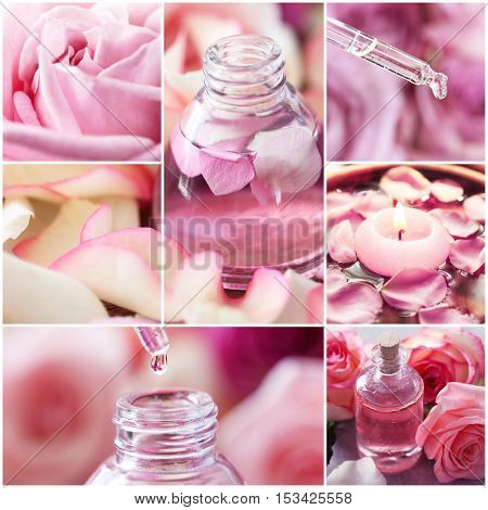 Collage of rose spa. Beauty treatment concept.
