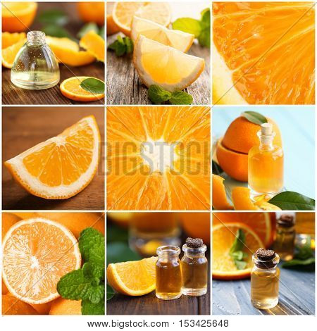 Collage of orange spa. Beauty treatment concept.
