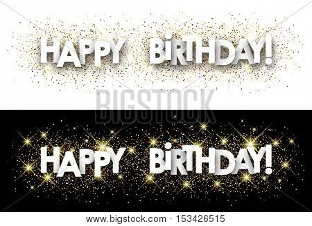 Happy birthday paper banner with shining sand. Vector illustration.