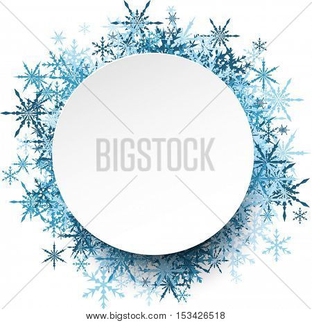 White winter round background with blue snowflakes. Vector illustration.