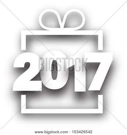 2017 New Year sign on white background. Vector illustration.