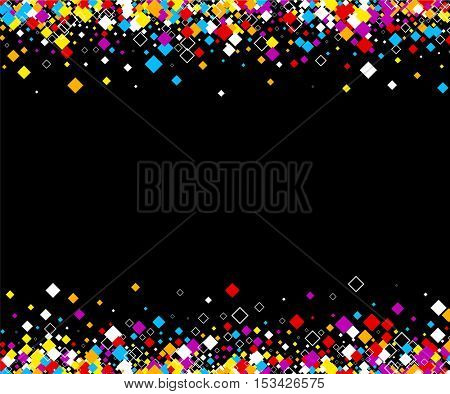 Black background with color rhombs. Vector paper illustration.