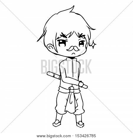 illustration vector hand drawn doodle of little boy wearing thai traditional clothing with a stick on his hand