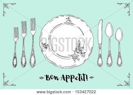 Hand drawn illustration of curly ornamental silver tableware, plate a turquoise background. Table setting set. Hand drawn design element. Sketch, vintage. Vector Illustration.