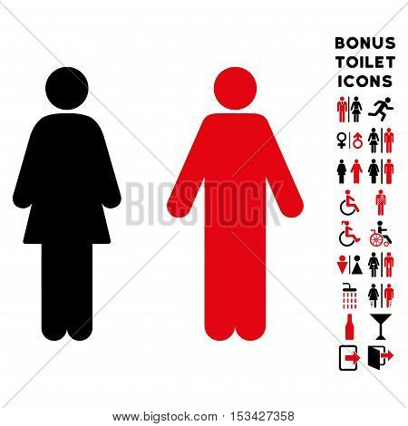 WC Persons icon and bonus male and lady lavatory symbols. Vector illustration style is flat iconic bicolor symbols, intensive red and black colors, white background.