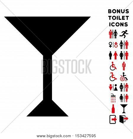 Wine Glass icon and bonus male and female WC symbols. Vector illustration style is flat iconic bicolor symbols, intensive red and black colors, white background.