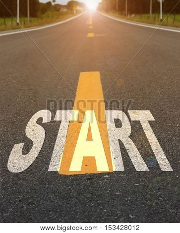 Concept of start straight for business background