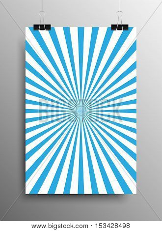 Vertical Poster Banner A4 Sized Vector Hanging With Paper Clips. Abstract Background Blue Shining Sun-Rays. Blue Rays. Vector illustration. Sun Rays.