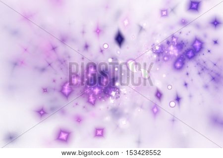 Bright splash. Abstract shining sparks on white background. Fantasy fractal design in pink and purple colors. Digital art. 3D rendering.