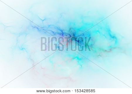 Bright splash. Abstract blurred shapes on white background. Fantasy fractal design in blue colors. Digital art. 3D rendering.