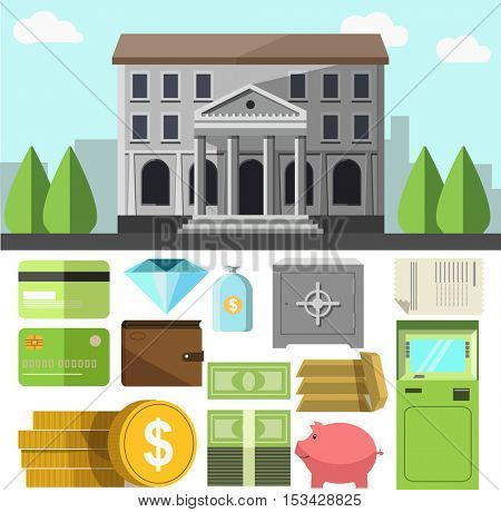 Vector bank building and business icons set. Flat design elements of finance banking symbol: credit cards and wallet, cash money and ATM teller, savings and coins, gems and safe. Illustration isolated