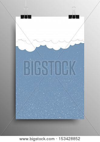 Vertical Poster Banner A4 Sized Vector Hanging With Paper Clips. White Snow Falling Blue Background. Clouds Background of Falling Snow. Cloud Weather. Winter Holiday. Merry Christmas New Year.