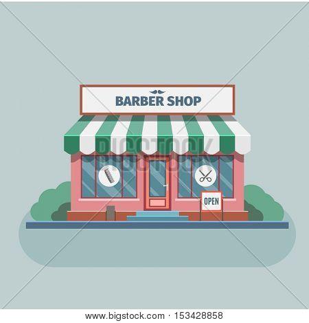 Barber shop building in town. Vector Illustration.