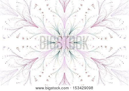 Delicate flower. Abstract pink and green floral ornament on white background. Fantasy fractal design for wallpapers posters or greeting cards. Digital art. 3D rendering.