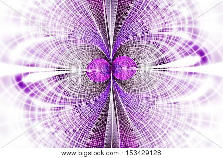 Mosaic reflections on white background. Symmetrical pattern in pink and purple colors. Fantasy fractal design. Digital art. 3D rendering.