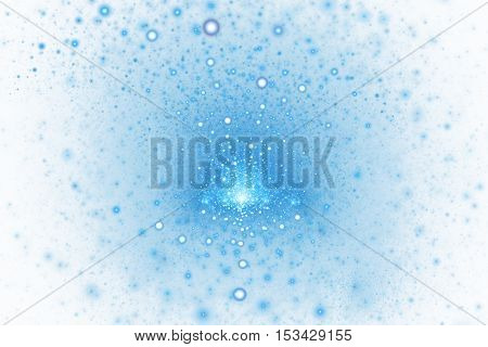 Fiery splash. Abstract colorful blue sparks on white background. Fantasy fractal texture for posters postcards or t-shirts. Digital art. 3D rendering.