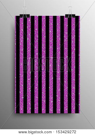 Vertical Poster Banner A4 Vector Paper Clips. Parallel Vertical Pink Sequins Lines Black Background. Pink Mosaic, Sequins, Glitter, Sparkle, Stars. Abstract Background.