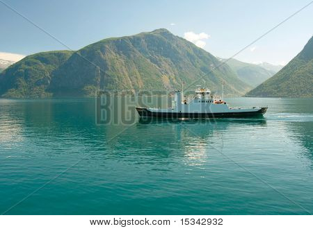 Ferry in the norwegian fjord