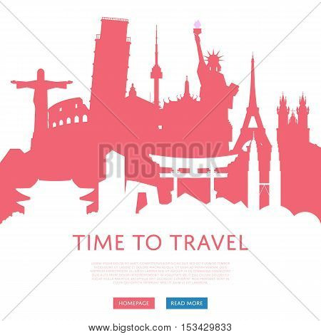 poster of orld travel and tourism concept flat vector. Famous world buildings. World travel landmark and famous travel place. Vacation travel architecture in cartoon style. World travel background. Travel banners. Travel background for traveling agency. Travel.